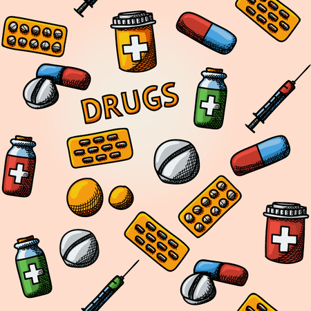pills: Seamless drugs, pills handdrawn pattern with - pills box and tablets, pill, blister and vitamins, syringe, liquid medicine.
