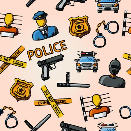 crime scene: Color de la mano patrón dibujado policía - arma de fuego, coche, cinta de la escena del crimen, insignia, hombres de la policía, ladrón, ladrón en la cárcel, las esposas, club de la policía. Ilustración vectorial Vectores