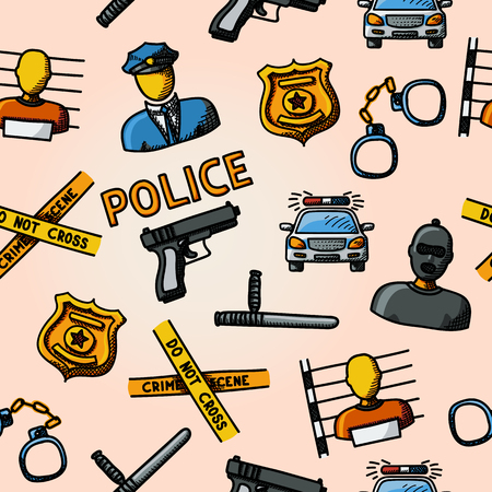 crime scene do not cross: Color hand drawn police pattern - gun, car, crime scene tape, badge, police men, thief, thief in jail, handcuffs, police club. Vector illustration