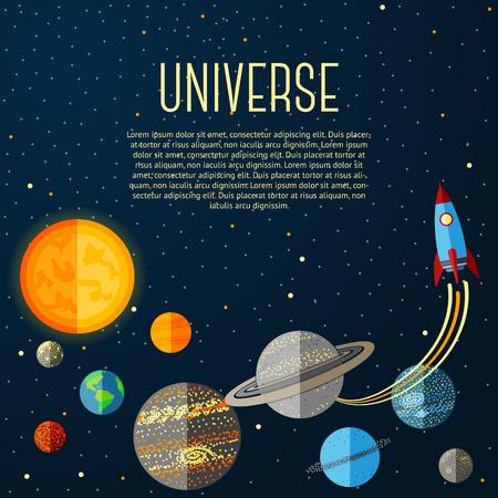 system: Bandera Universo con el sistema solar, las estrellas y el cohete espacial. Ilustración vectorial