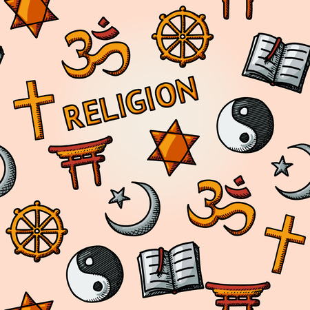 doctrine: World religion hand drawn seamless pattern with - christian, Jewish, Islam, Buddhism, Hinduism, Taoism, Shinto, and book as symbol of doctrine.