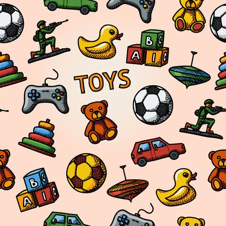 molinete: Juguetes sin fisuras patr�n dibujado a mano con - coche y pato, oso y la pir�mide, bola, dispositivo de juego, bloques, perinola, soldado. Ilustraci�n vectorial