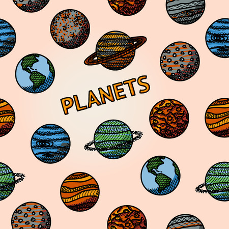 pluto: hand drawn planet pattern with - mercury and venus, earth and mars, jupiter, saturn, uranus, neptune, pluto. Vector illustration