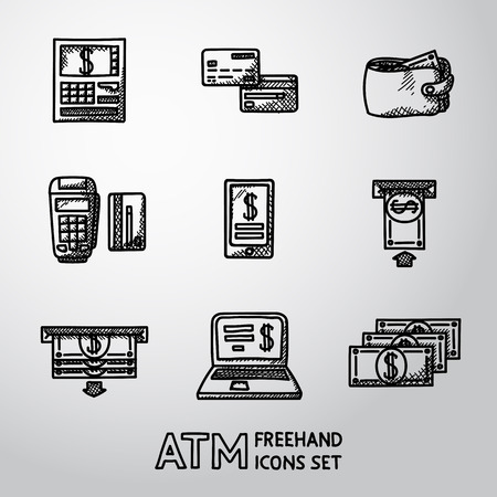 Set of freehand ATM icons with - ATM, cards and wallet, portable atm, smartphone, money transfer, notebook, bills. Vector illustration Illustration