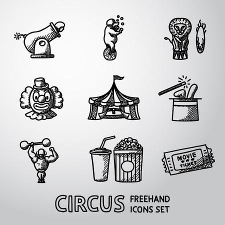 mago: Conjunto de iconos a mano alzada circo con - payaso, cañón, oso, león, sombrero de mago, hombre fuerte, boleto, cola y palomitas de maíz. ilustración vectorial Vectores