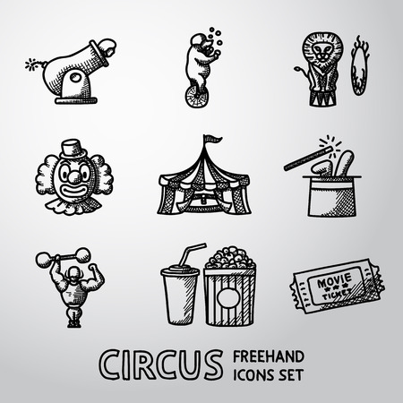 freehand: Set of CIRCUS freehand icons with - clown, cannon, bear, lion, magician hat, strongman, ticket, cola and popcorn. Vector illustration Illustration