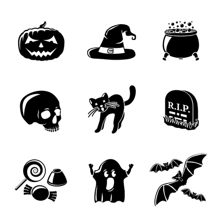 skull icon: Set of monochrome HALLOWEEN icons -pumpkin, witch hat, cauldron and skull, cat and grave, candy, ghost, bats. Vector illustration