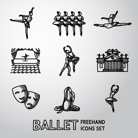 stage: Set of Ballet freehand icons with - ballet dancers, swan lake dance, stage, theater building, masks. Vector illustration Illustration