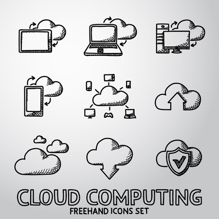 freehand: Set of handdrawn Cloud Computing icons. Vector illustration