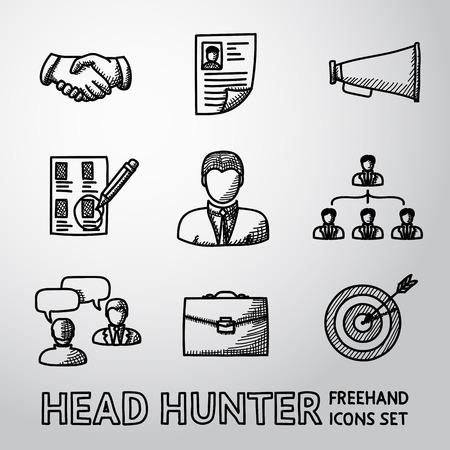 stretta di mano: Set di icone handdrawn Head Hunter con - stretta di mano, riprendere, boccaglio, scelta, dipendente, la gerarchia, intervista, portafoglio, bersaglio con freccia in centro. Illustrazione vettoriale