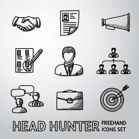 job icon: Set of handdrawn Head Hunter icons with - handshake, resume, mouthpiece, choice, employee, hierarchy, interview, portfolio, target with arrow in center. Vector illustration