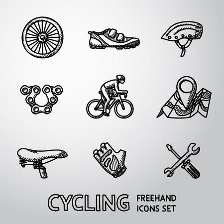 ciclismo: Conjunto de iconos a mano alzada con Ciclismo - rueda, zapatos y casco, cadena, ciclista, mapa con gps, silla de montar, guantes, herramientas de reparacion. Ilustración vectorial