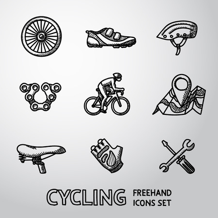 Set of Cycling freehand icons with - wheel, shoe and helmet, chain, cyclist, map with gps, saddle, glove, repair tools. Vector illustration
