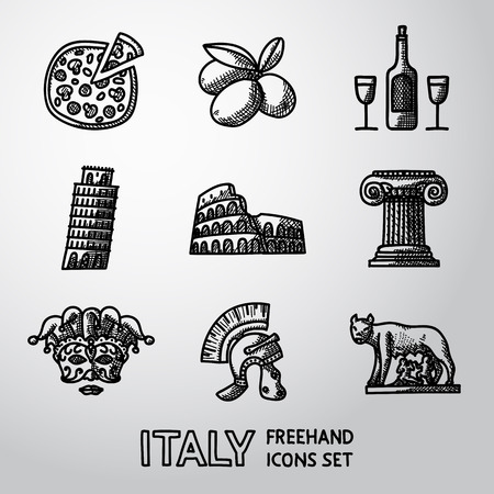 lupa: Set of Italy freehand icons - pizza and olives, wine, Pisa Tower, Colosseum, Column, venecian mask, Legionnaires Helm, Lupa Capitolina. Vector illustration