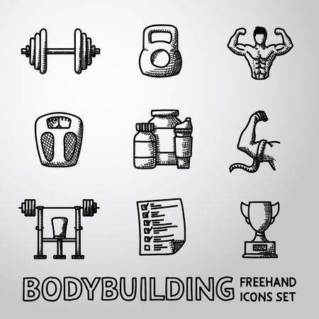 bodybuilding: Set of Bodybuilding freehand icons with - dumbbell, weight, bodybuilder and scales, gainer and shaker, measuring, barbell, schedule, goblet. Vector illustration Illustration