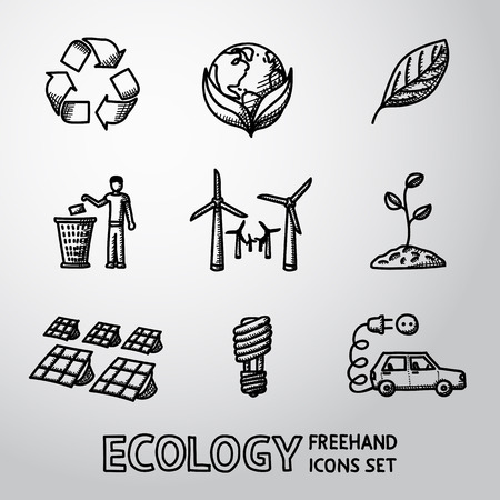freehand: Set of handdrawn ECOLOGY icons with - recycle sign, green earth, leaf, garbage disposal, wind power station, plant, solar power station, light bulb, electro car. Vector illustration
