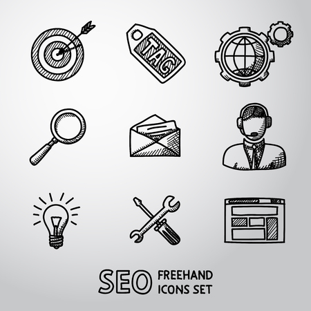 handdrawn: Set of SEO handdrawn icons - target with arrow, tag and world, magnifier, mail, support, idea, instruments, site. Vector illustration