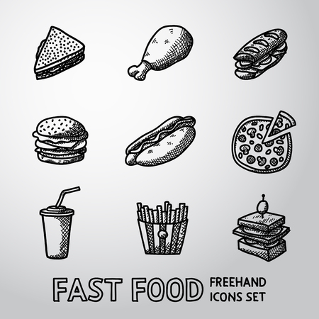 hotdog: Set of freehand FAST FOOD icons - sandwich and chicken, hamburger, hotdog, pizza, french fries, canape, soda. Vector illustration