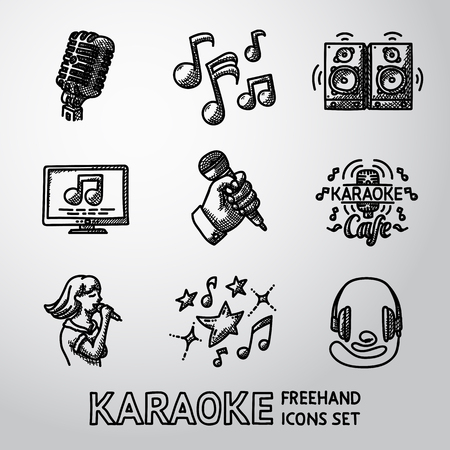 Set of karaoke singing icons - microphone, notes, loudspeakers, tv-screen, hand with mic, karaoke cafe sign, singer, headphones.