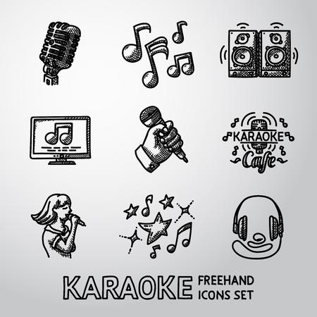 Set of karaoke singing icons - microphone, notes, loudspeakers, tv-screen, hand with mic, karaoke cafe sign, singer, headphones.