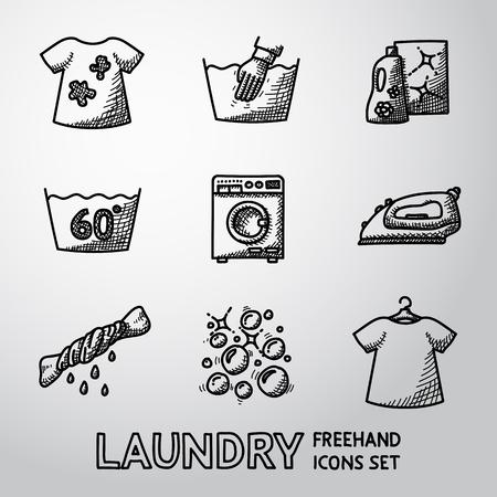 solvant: Ensemble d'ic�nes de blanchisserie avec - chemises propres et sales, le lavage des mains, lave-linge, fer � repasser, eau de javel, des bulles.