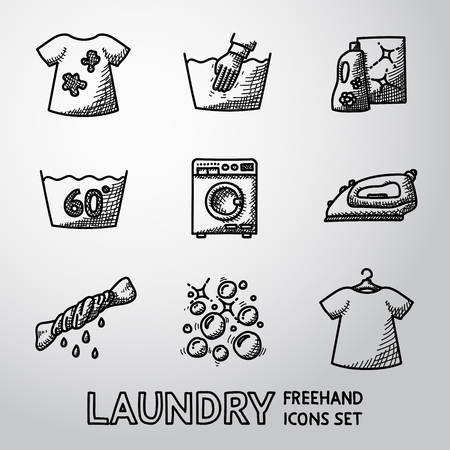 bleach: Set of Laundry icons with - clean and dirty shirts, hand washing, washing machine, iron, bleach, bubbles.