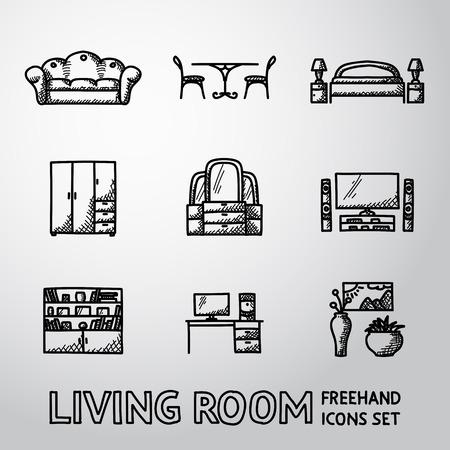 mesa de comedor: Conjunto de iconos de la sala de estar con - sof�, mesa de comedor, cama, armario, espejo, televisi�n, estanter�a, mesa de trabajo, jarrones con la imagen.