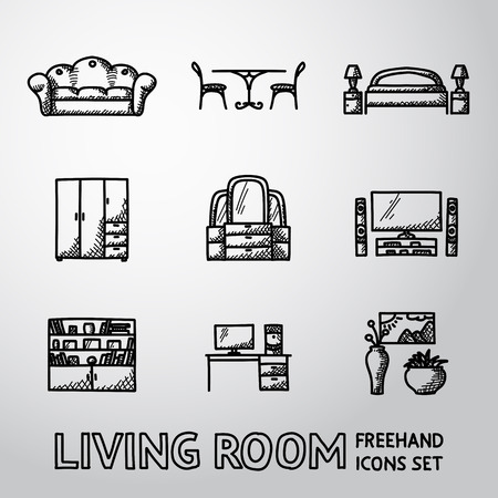 dining table: Set of Living Room icons with - sofa, dining table, bed, cupboard, mirror, tv, bookshelf, working table, vases with picture.