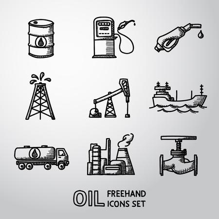 oil derrick: Set of  oil icons - barrel, gas station, rigs and tanker, oil truck, plant, valve.