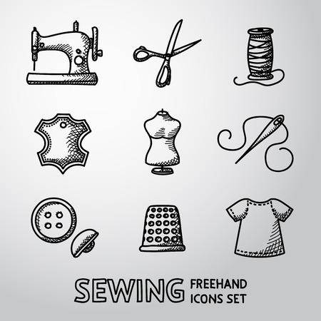 maquinas de coser: Conjunto de iconos de coser - máquina de coser, tijeras e hilo, etiqueta de cuero, Maniquí, agujas, botones, dedal, tela. Vectores