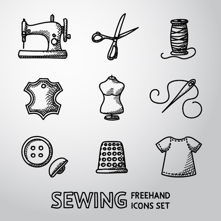 threads: Set of sewing icons - sewing machine, scissors and thread, leather tag,mannequin, needle, buttons, thimble, fabric.