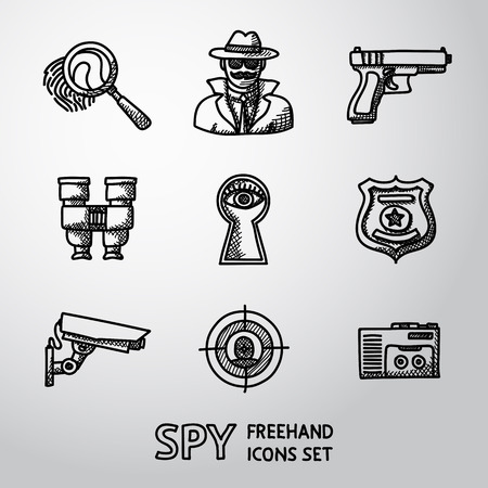 detective agency: Set of Spy icons - fingerprint, spy, gun and binocular, eye in keyhole, badge, surveillance camera, rear sight, dictaphone. Illustration