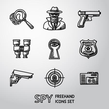 Set of Spy icons - fingerprint, spy, gun and binocular, eye in keyhole, badge, surveillance camera, rear sight, dictaphone. Illustration