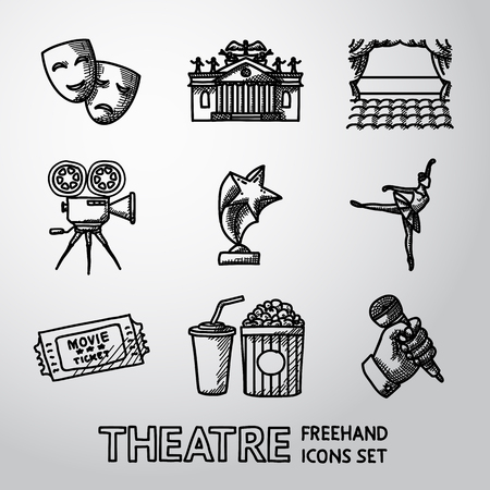 theatrical performance: Set of Theatre icons - masks and theater, stage, cinema, award, ballet, ticket, popcorn and cola, hand with microphone. Illustration