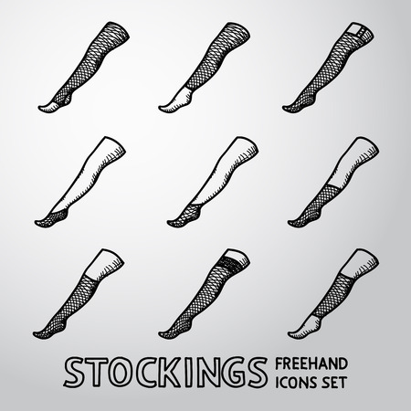femine: Set of STOCKINGS icons with different types.