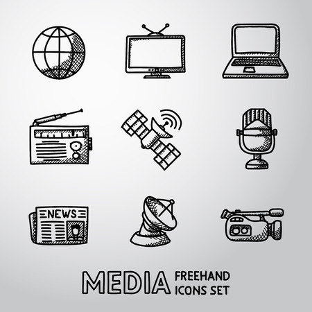 tv camera: Set of media icons - news and radio, tv and internet, earth, satellite, camera, microphone. Illustration