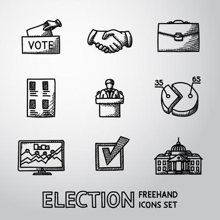 encuestando: Conjunto de iconos de la elección con - caja de voto, apretón de manos, la cartera, la lista de votación, que hable, infografía, casilla de verificación, casa blanca.