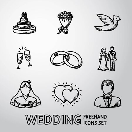paloma caricatura: Set of wedding icons - cake, flowers, dove and champagne, rings and couple, bride, hearts, groom.