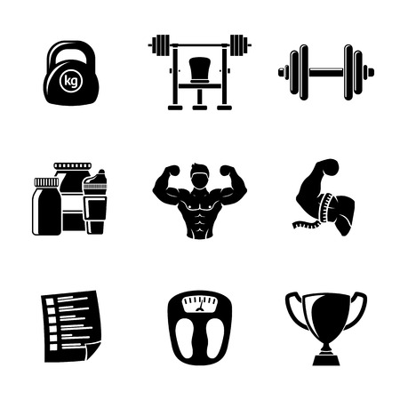 bodybuilding: Set of Bodybuilding icons with - dumbbell and weight, bodybuilder, scales, gainer and shaker, measuring, barbell, schedule, goblet.