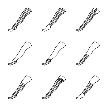 Set of STOCKINGS icons with different types.