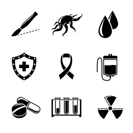 Set of Cancer icons with - shield, cancer cell, blood drops, scalpel and ribbon, chemotherapy, radiation treatment, blood samples, pills.