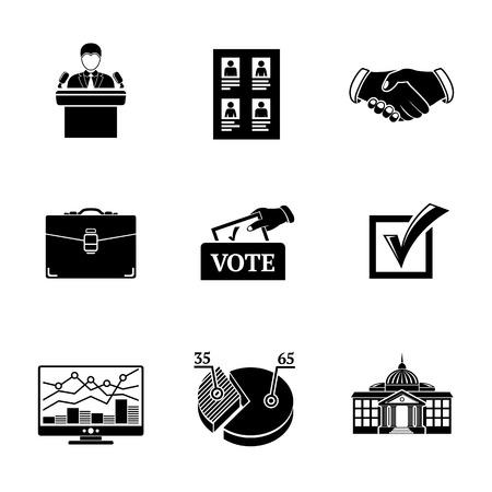 white house: Set of ELECTION icons with - vote box, handshake, portfolio, vote list, speaking man, infographics, check box, white house. Illustration
