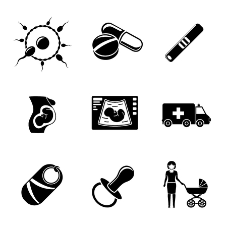 girl care: Set of PREGNANCY icons with - egg and sperm, pills and test, womb, ultrasound, ambulance car, child, nipple, mother.