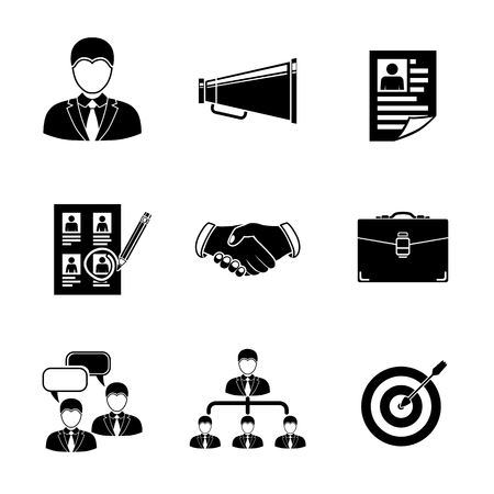 mouthpiece: Set of Head Hunter icons with - handshake, resume, mouthpiece, choice, employee, hierarchy, interview, portfolio, target with arrow in center.