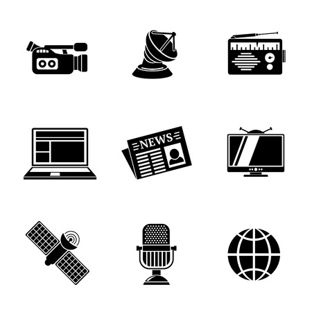 tv network: Set of media icons - news, radio, tv, internet, earth and satellite, camera and microphone.
