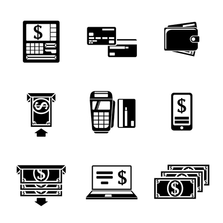 automatic transaction machine: Conjunto de iconos monocromáticos ATM con - ATM, tarjetas y cartera, atm portátil, smartphone, transferencias de dinero, bloc de notas, facturas. Vectores