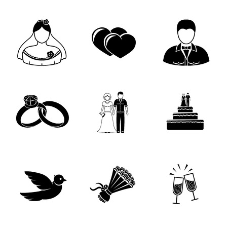 bride groom silhouette: Set of wedding icons - cake, flowers, dove and champagne, rings and couple, bride, hearts, groom.