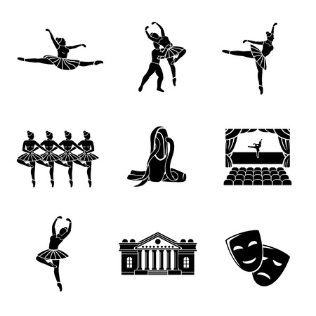 stage set: Set of Ballet monochrome icons with - ballet dancers, swan lake dance, stage, theater building, masks.