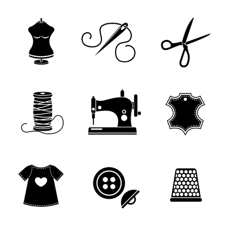 Set of sewing icons - sewing machine, scissors and thread, leather tag, mannequin and needle, buttons, thimble, fabric.