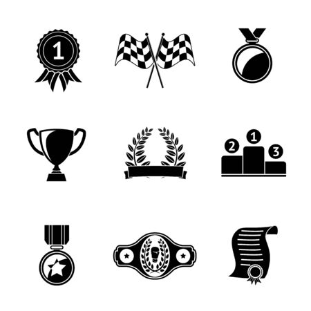 Set of winners icons - goblet, medal and wreath, race flags, belt, certificate. Illustration